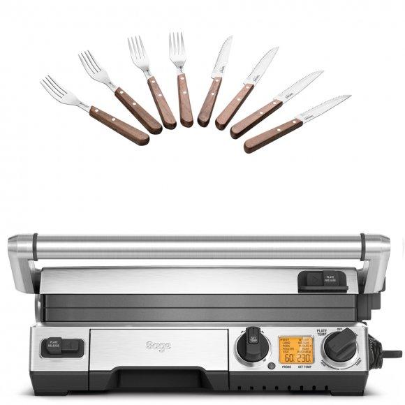 BGR840 Kontaktní gril SMART SAGE + 8 ks Steakových příborů Lamart LT2062