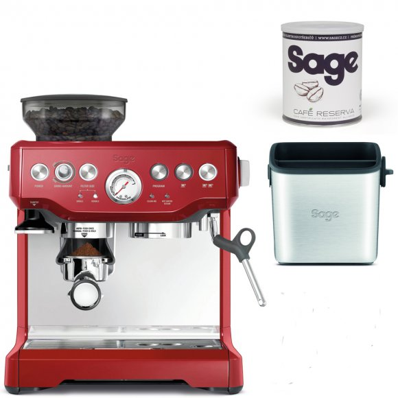 BES870 Espresso červené SAGE+ Odklepávač BES100 + Káva Reserva
